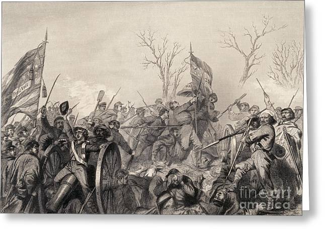 Confederate Flag Greeting Cards - Battle Of Murfreesboro, 1863 Greeting Card by Photo Researchers