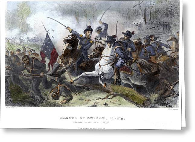 Confederate Flag Greeting Cards - Battle Of Shiloh, 1862 Greeting Card by Granger