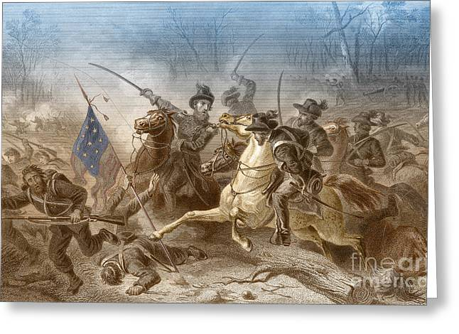 Confederate Flag Greeting Cards - Battle Of Shiloh, Charge Of General Greeting Card by Photo Researchers