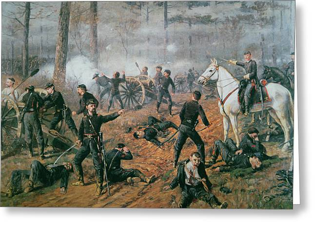 Bayonet Paintings Greeting Cards - Battle of Shiloh Greeting Card by T C Lindsay