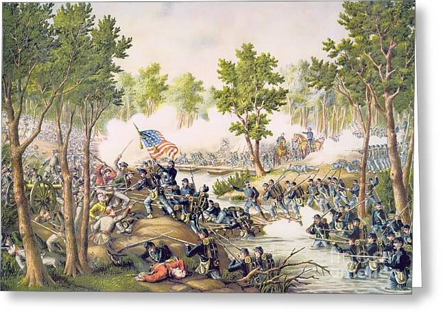 Bayonet Paintings Greeting Cards - Battle of Spottsylvania May 1864 Greeting Card by American School