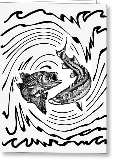 Sturgeon Digital Art Greeting Cards - Battle of the Fishes Greeting Card by Mon Saepharn