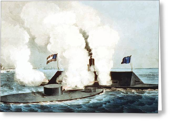Naval History Greeting Cards - Battle of the Monitor and Merrimack Greeting Card by War Is Hell Store