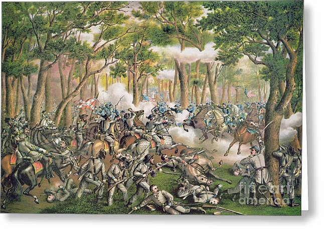 Troops Greeting Cards - Battle of the Wilderness May 1864 Greeting Card by American School