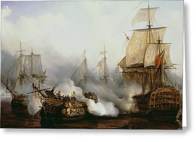 Sailing Boat Greeting Cards - Battle of Trafalgar Greeting Card by Louis Philippe Crepin