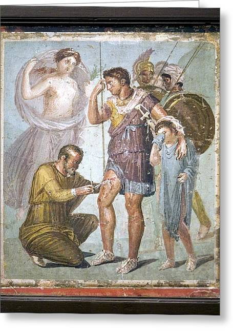 Wounded Warrior Greeting Cards - Battle Wounds Of Aeneas, Roman Fresco Greeting Card by Sheila Terry
