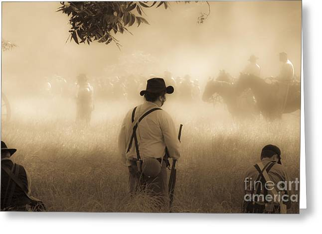 Period Mixed Media Greeting Cards - Battlefield Greeting Card by Kim Henderson