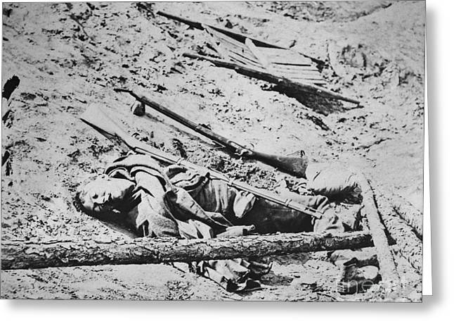 Dead Soldier Greeting Cards - Battlefield Of Manassas Greeting Card by Photo Researchers
