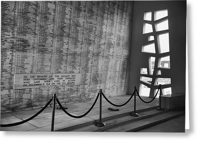 Battleship Arizona Memorial Wall - Pearl Harbor Hawaii Greeting Card by Daniel Hagerman