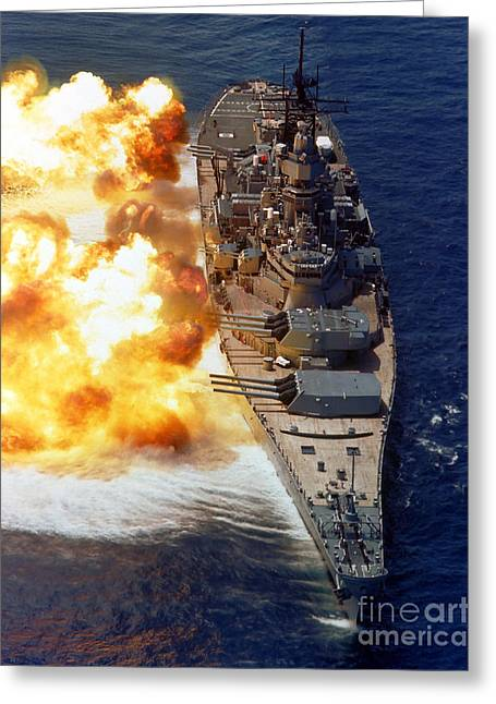 Mark Photographs Greeting Cards - Battleship Uss Iowa Firing Its Mark 7 Greeting Card by Stocktrek Images