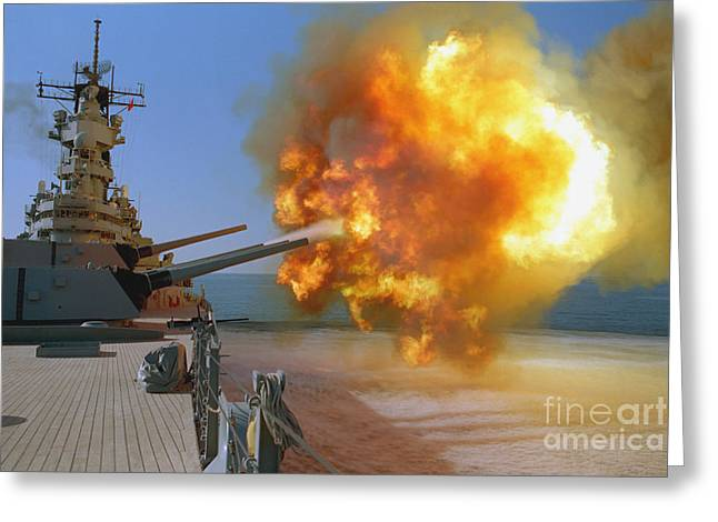 Battleship Uss Wisconsin Fires A Round Greeting Card by Stocktrek Images