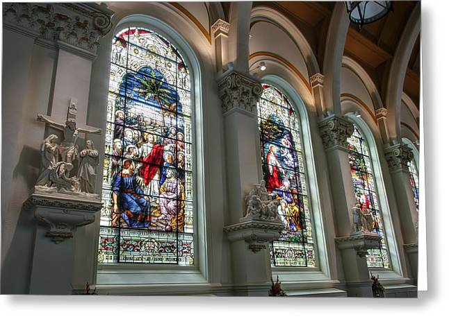 Lady Washington Greeting Cards - Bavarian Cathedral Glass - Spokane Washington Greeting Card by Daniel Hagerman
