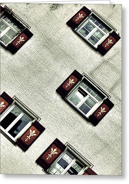 Shuttered Windows Greeting Cards - Bavarian Window Shutters Greeting Card by Joana Kruse