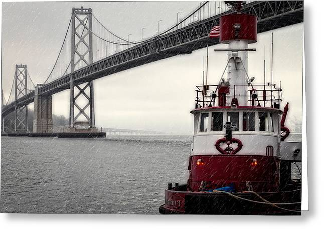 Fireboat Greeting Cards - Bay Bridge and Fireboat in the Rain Greeting Card by Jarrod Erbe