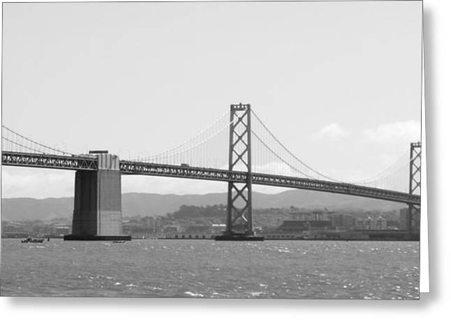 Bay Bridge in Black and White Greeting Card by Carol Groenen
