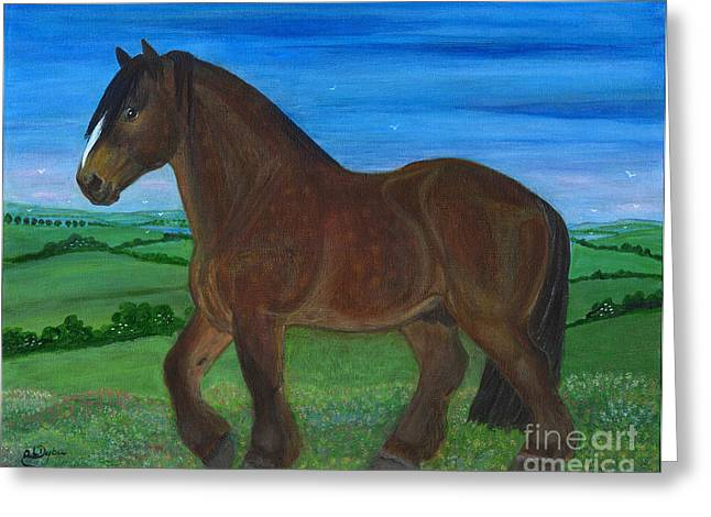 Polskie Malarstwo Greeting Cards - Bay Horse Greeting Card by Anna Folkartanna Maciejewska-Dyba
