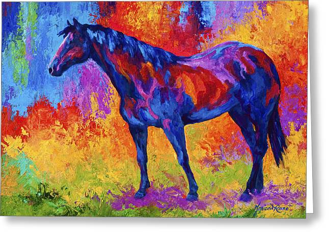 Animals Paintings Greeting Cards - Bay Mare II Greeting Card by Marion Rose