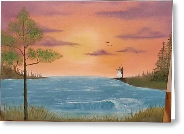 Bay Sunset Greeting Card by Nick Ambler