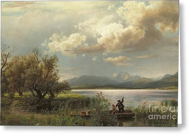 Besides Greeting Cards - Bayern Landscape Greeting Card by Augustus Wilhelm Leu