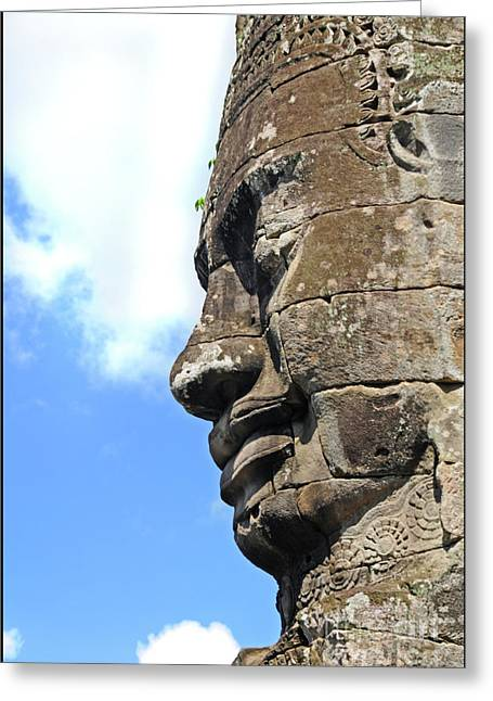 Wat Angkor Greeting Cards - Bayon face Greeting Card by Marion Galt