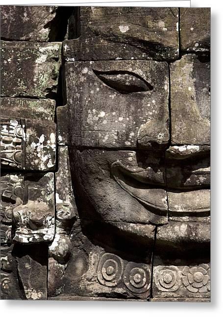 Ancient Ruins Greeting Cards - Bayon Temple, Angkor, Cambodia Greeting Card by Deddeda