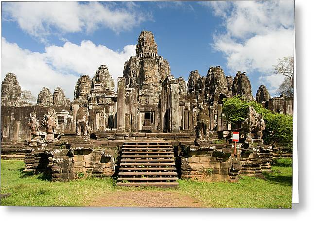 Wat Angkor Greeting Cards - Bayon Temple in Cambodia Greeting Card by Artur Bogacki