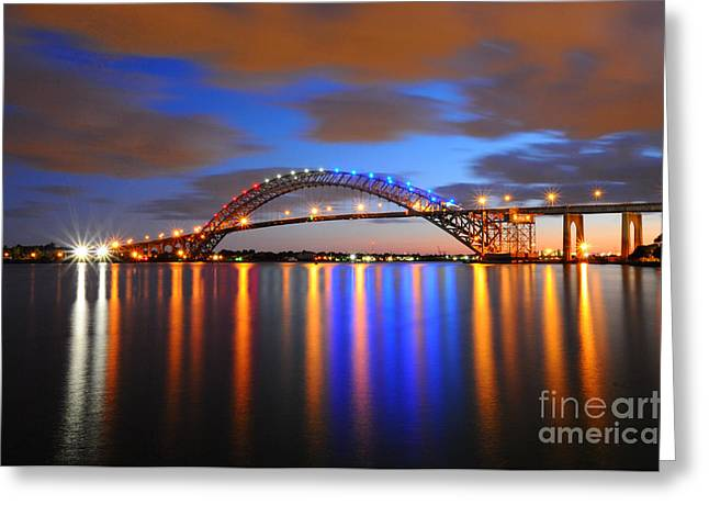 Lights Reflecting On Water Greeting Cards - Bayonne Bridge Greeting Card by Paul Ward
