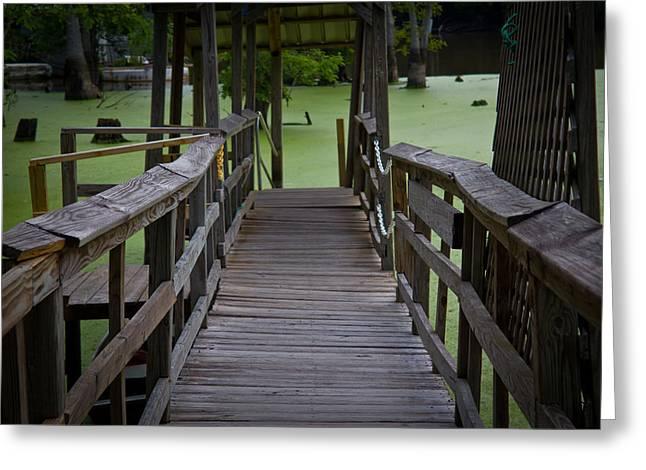 Slidell Greeting Cards - Bayou Dock Walkway Greeting Card by Jen TenBarge