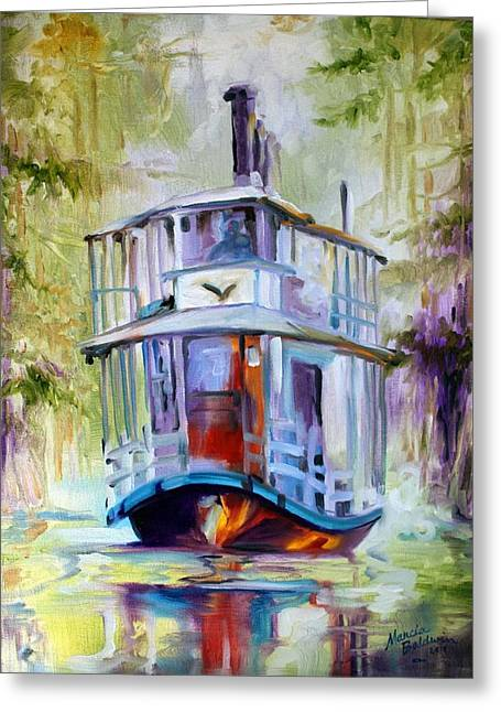 Moss Green Paintings Greeting Cards - Bayou Taxi Waterscape Greeting Card by Marcia Baldwin