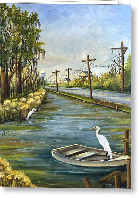 Moss Green Paintings Greeting Cards - Bayou Terre aux Boeufs Greeting Card by Elaine Hodges