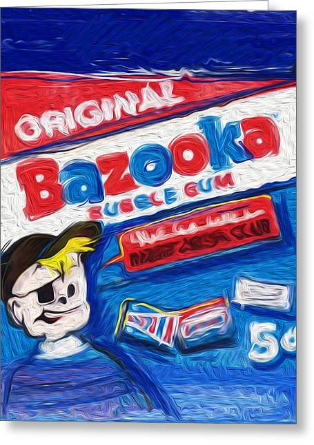Red White And Blue Mixed Media Greeting Cards - Bazooka Joe Greeting Card by Russell Pierce