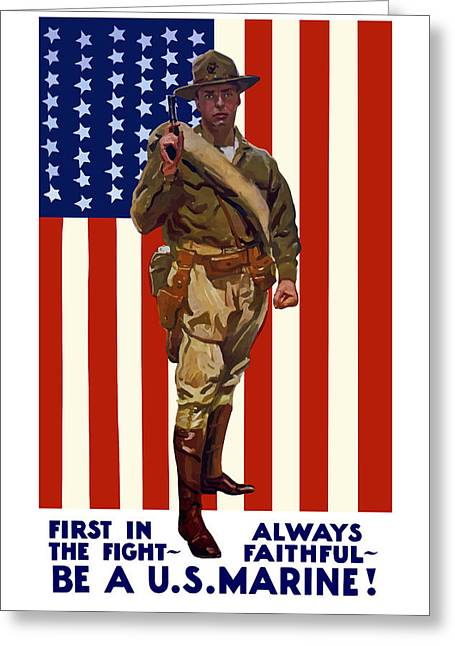 Marines Greeting Cards - Be A US Marine Greeting Card by War Is Hell Store