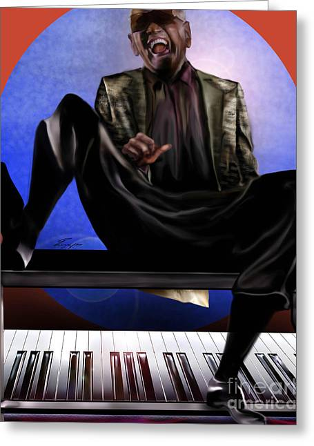 Super Stars Greeting Cards - Be Good To Ya - Ray Charles Greeting Card by Reggie Duffie
