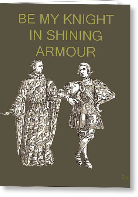 Las Vagas Greeting Cards - Be My Knight in shining Armour Two men Greeting Card by Eric Kempson