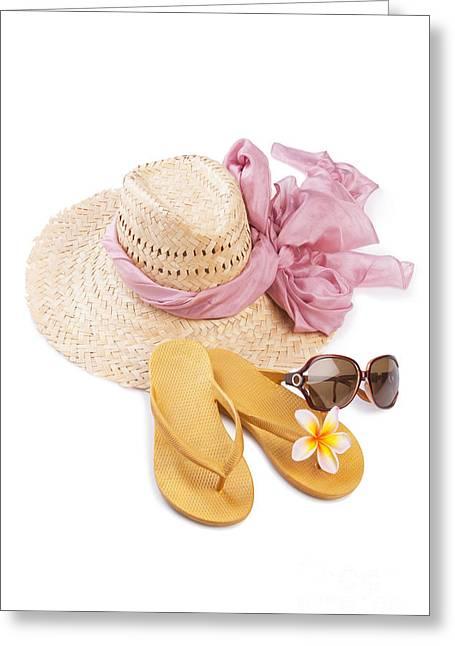Beach Accessories Greeting Card by Atiketta Sangasaeng