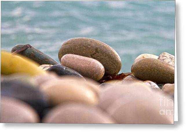 Abstract Beach Landscape Greeting Cards - Beach And Stones Greeting Card by Stylianos Kleanthous