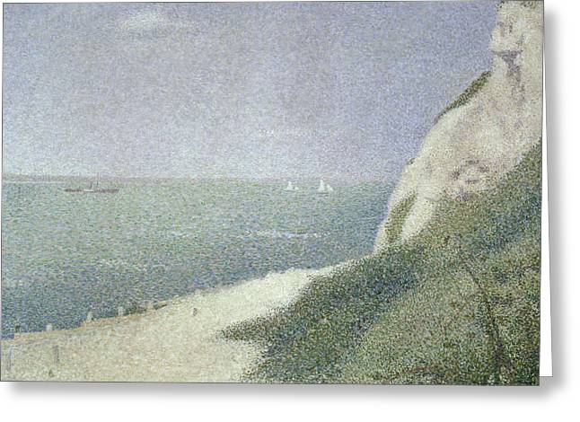 Seurat Paintings Greeting Cards - Beach at Bas Butin Greeting Card by Georges Pierre Seurat