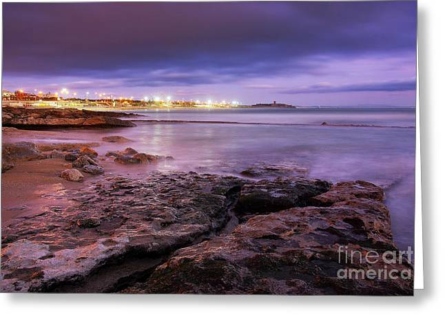 Storm Clouds; Sunset; Twilight; Water Greeting Cards - Beach at dusk Greeting Card by Carlos Caetano