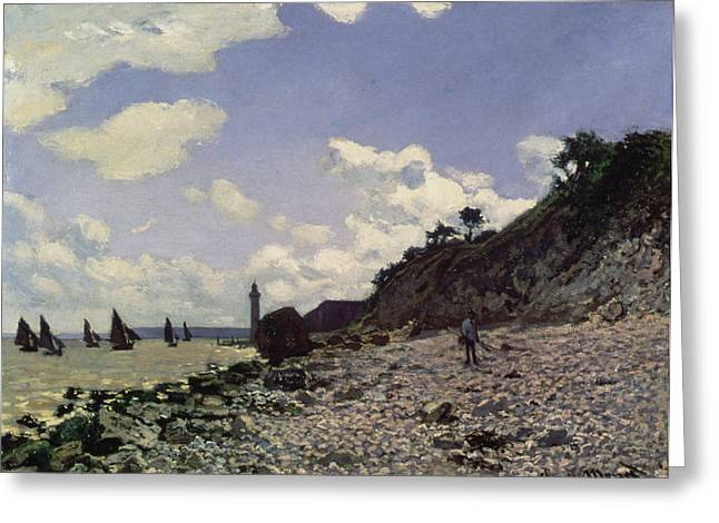 Boats On Water Greeting Cards - Beach at Honfleur Greeting Card by Claude Monet