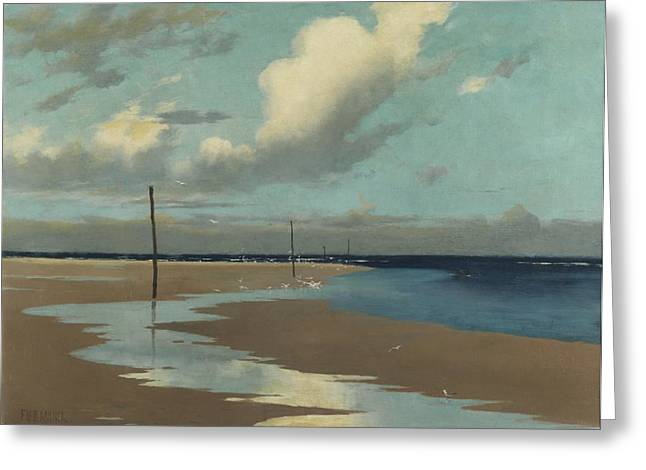 Seagull Greeting Cards - Beach at Low Tide Greeting Card by Frederick Milner