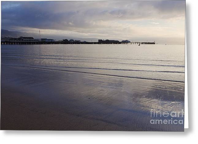 Santa Barbara Pier Greeting Cards - Beach at Low Tide near the Santa Barbara Pier Greeting Card by Jeremy Woodhouse