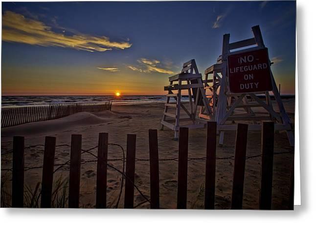 Lake Michgan Greeting Cards - Beach At Sunrise Greeting Card by Sven Brogren