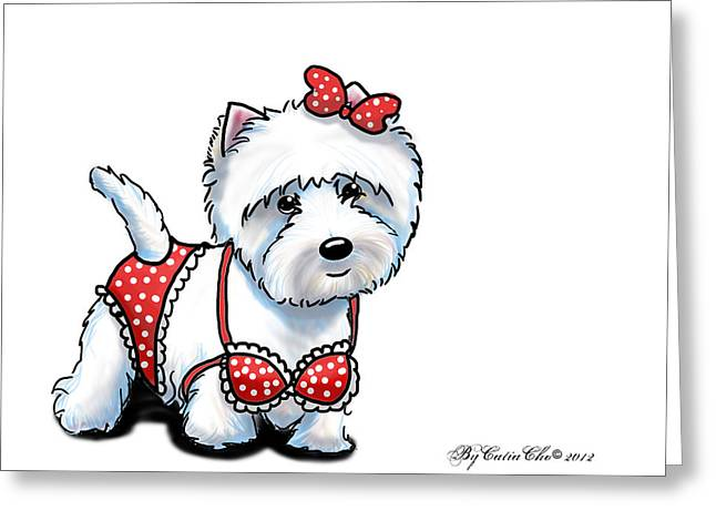 White Terrier Mixed Media Greeting Cards - Beach Babe Westie Greeting Card by Catia Cho