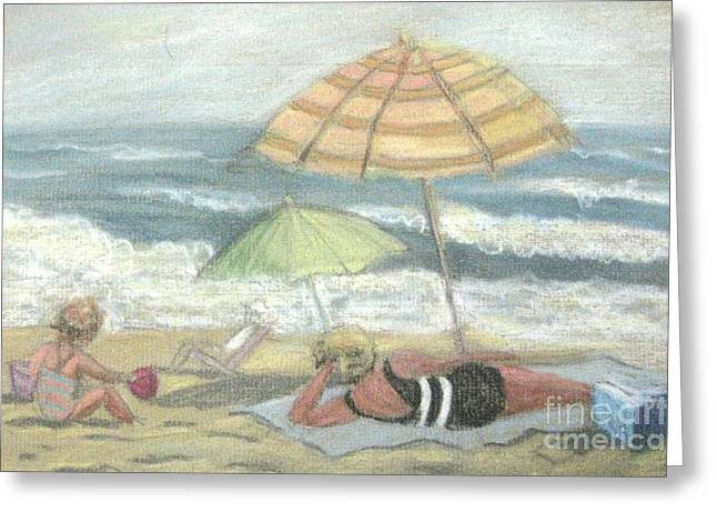 Umbrella Pastels Greeting Cards - Beach Babes Greeting Card by Gretchen Allen
