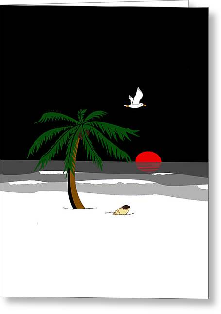 Beach At Night Greeting Cards - Beach at Night Black and White 1 Greeting Card by Rolyat Art