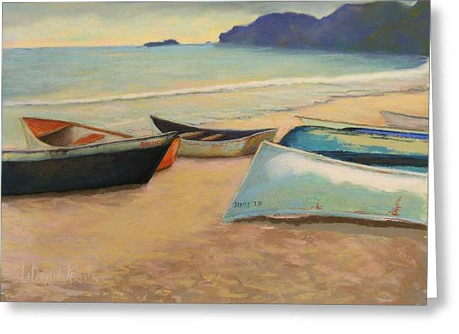 Dominican Republic Pastels Greeting Cards - Beach Boats Greeting Card by LaDonna Kruger