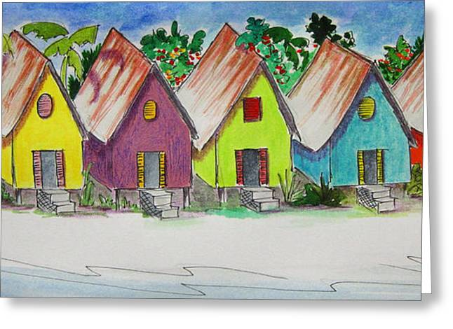 Best Sellers -  - Tin Roof Greeting Cards - Beach Bungalows Greeting Card by Jan Prewett