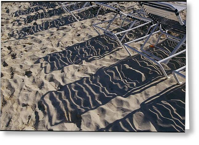 Virgin Gorda Greeting Cards - Beach Chairs Cast Shadows Over The Sand Greeting Card by Todd Gipstein