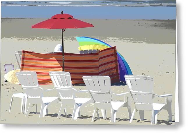 Beach Chairs Greeting Card by Lori Seaman