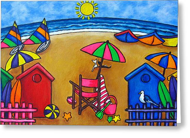 Beach Huts Greeting Cards - Beach Colours Greeting Card by Lisa  Lorenz